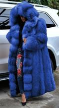 Women's Club Style Warm Hooded Thick Full Length Faux Fox Fur Coat image 4
