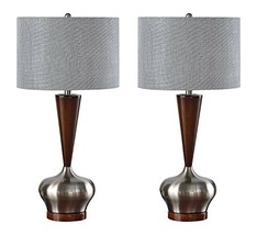Kings Brand Brushed Nickel/Walnut Base with Silver Fabric Shade Table Lamps, Set