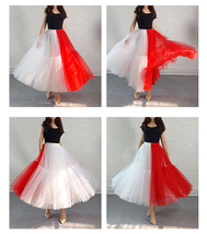 Red White Long Tulle Skirt Outfit Contrast Color Tutu Skirt Plus Size High Waist image 4