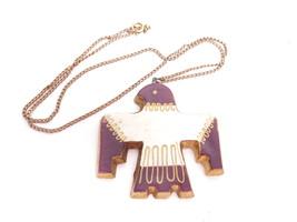 Vintage Thunderbird Eagle Artisan Ceramic Bird  Gold Filled Chain Neckla... - $84.10