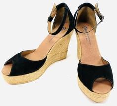 Anthropologie GAIMO Black Suede Open Toe Espadrilles-Susan-Size 41/US 10... - $55.71