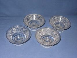 4 Grand Diamond Medallion Dessert Sherbet Bowls  Vtg Clear Pressed Glass - $19.79