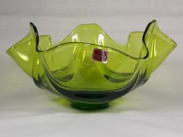 Viking Epic Drape Avocado Green Glass Candy Bowl #6806, Fruit Bowl, Compote, Com - $44.00