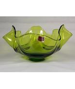 Viking Epic Drape Avocado Green Glass Candy Bowl #6806, Fruit Bowl, Comp... - $44.00