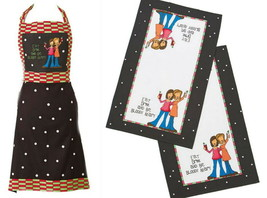 3 Pcs Hostess Apron + 2 Towel Set Embroidered Cocktail Party Holiday Blo... - $36.00