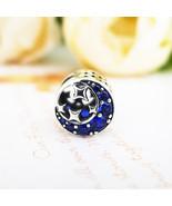 Blue Moon Star Silver Charm, Sterling Silver 925 Charm, Blue Moon Zircon... - $19.71