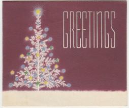 Vintage Christmas Card White Tree Burgundy Background 1940's - $8.90