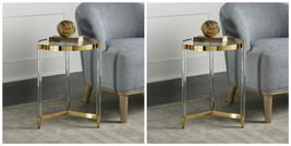 TWO MODERN MID CENTURY GOLD ACCENT END TABLE GLASS TOP   - $721.60