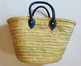 Sale  Basket with hand sewing leather handles blue
