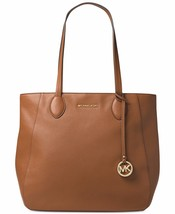 NWT  MICHAEL KORS ANI NORTH SOUTH TOP ZIP LEATHER TOTE ACORN - $178.51