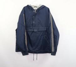 Vintage 90s Gap Mens Medium Lined Pullover Hooded Anorak Jacket Striped Blue - $49.45