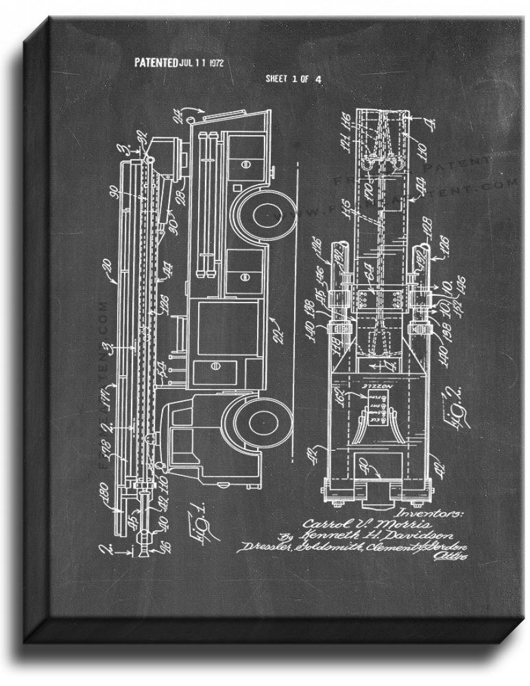 Primary image for Fire Fighting Apparatus With Telescoping Boom Patent Print Chalkboard on Canvas