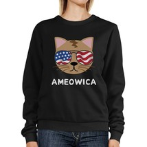 Ameowica Unisex Black Funny Design Sweatshirt Gift For Cat Lovers - $20.99+
