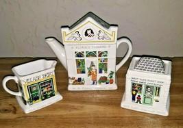 Wade English Life Ceramic Teapot Creamer Sugar Set Of 3 1881 Fish And Chip Shop - $29.65