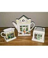 Wade English Life Ceramic Teapot Creamer Sugar Set Of 3 1881 Fish And Ch... - $29.65