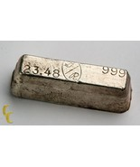 G/R Hand Poured Vintage Loaf Style .999 Fine Silver Bar 23.48 Ounces - $891.00