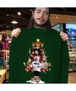 Post Malone Christmas Tree Shirt Forest Green Crewneck Pullover Sweatshi... - $30.99+