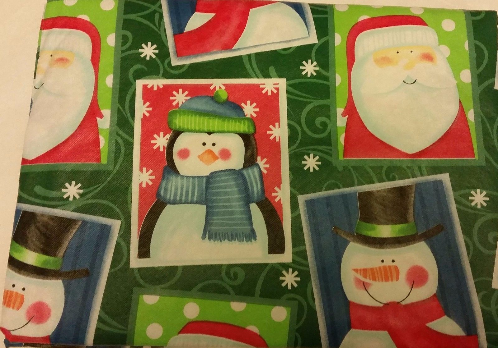 "Primary image for FLANNEL BACK VINYL TABLECLOTH 52"" x 90"", (6-8 ppl), CHRISTMAS CHARACTERS by AP"