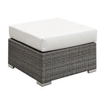 Richborne Grey Wicker Small Ottoman in Cream Cushion - Outdoor Patio - $262.19