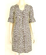 1 Jude Connally dress mini S white with brown animal leopard print 3/4 s... - $49.49