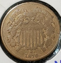 1870 Two Cent Piece Better Date Coin image 1