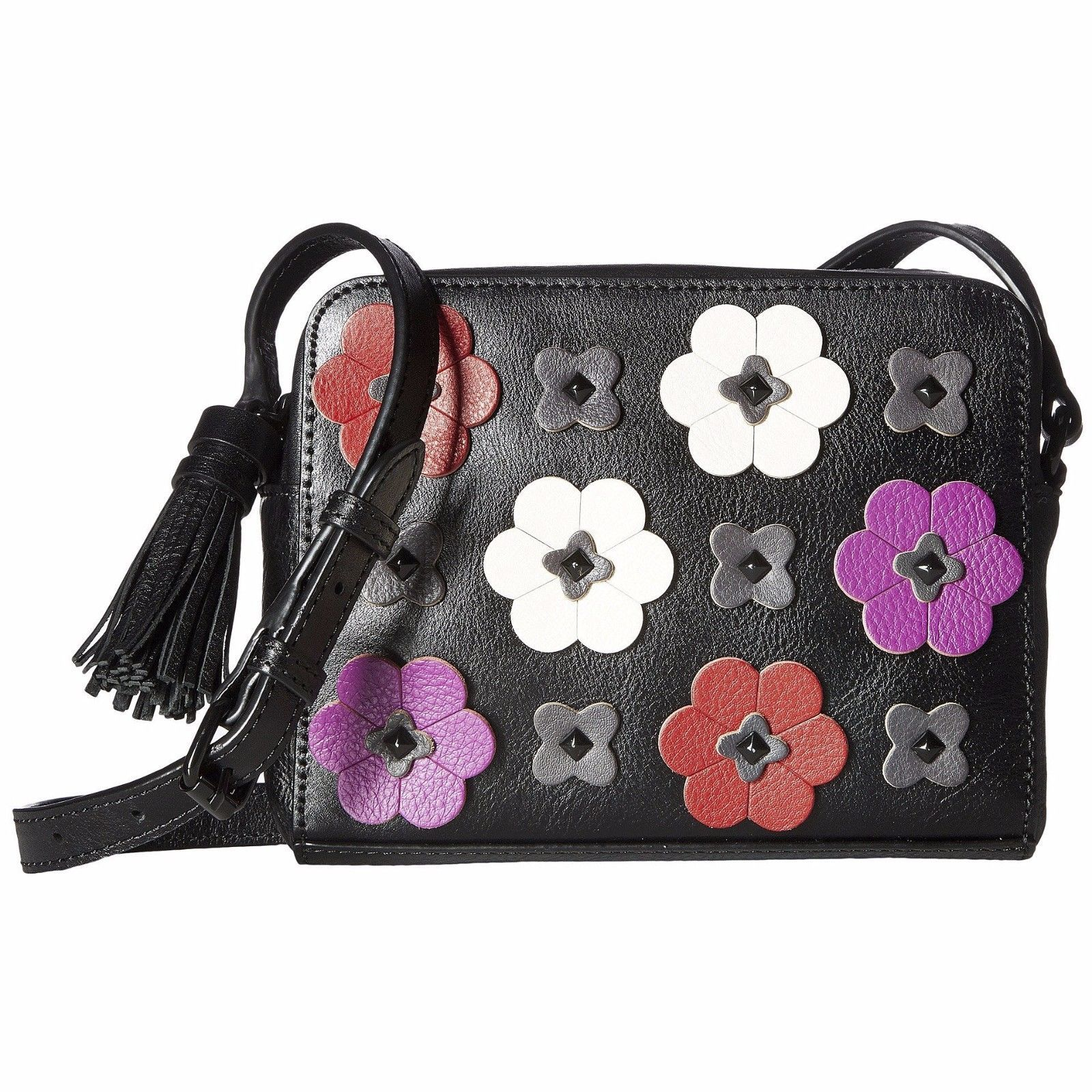Primary image for Rebecca Minkoff Black Pink Leather Floral Applique Camera Crossbody Bag NWT