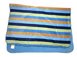 2010 KOALA BABY Boy Stripped Blanket Lovey Blue Sherpa Brown Green Babie... - $24.38