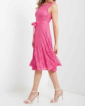 Bright Pink Lace Dress, Fit and Flare Pink Dress, Lace Overlay Dress, Hot Pink