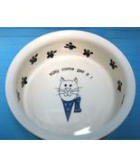 """Cat Kitty World Market Feeding Dish Bowl 5"""" Ceramic Pottery Kitty Come G... - $22.95"""