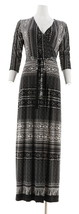 Attitudes Renee Como Jersey Printed Faux Wrap Maxi Dress Black L NEW A31... - $41.56