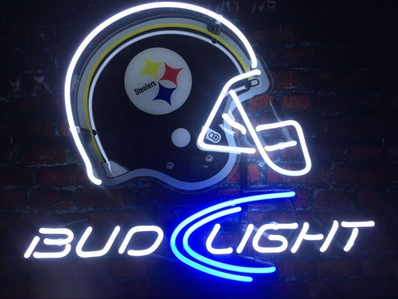 "New Pittsburgh Steelers Bud Light Helmet Beer Neon Sign 24""x20"""
