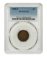 1908-S 1c PCGS F12 - Popular Key Date - Indian Cent - Popular Key Date - $145.50