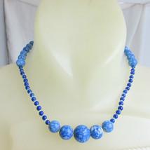 """Vintage Estate Asian Souvenir Blue Lapis Lazuli 16.5"""" Necklace Unknown M... - $35.99"""