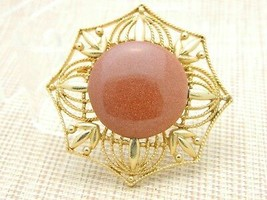 Gold Tone Bronze Goldstone Large Medallion Pin Brooch Vintage - $29.70