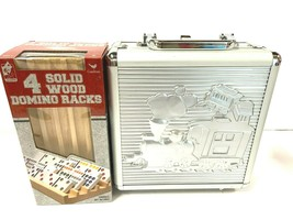 Mexican Train Game Dominos Set w/Metal Case PLUS 4 Pack Solid Wood Domino Racks - $39.11