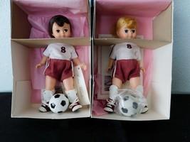 """(2) Brunette & Blond SOCCER BOYS  8"""" Dolls  Madame Alexander Sports Col... - $38.61"""