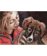 ACEO Original Painting Girl With Puppy dogs pets animals children cuddle - $16.00