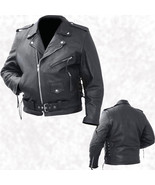 Mens Black Cowhide Leather Classic Biker Style Motorcycle Biker Jacket Coat - $59.99+