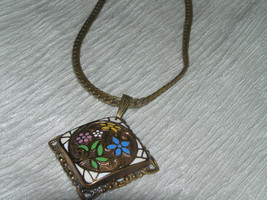 Vintage Brass Herringbone Chain w White Pink Blue & Yellow Enamel Floral Square - $18.59