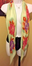 Echo Pale Green Sheer Scarf VIBRANT Floral Pattern Hippy Chic RETRO EUC - $8.99