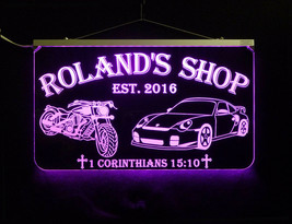 Personalized Motorcycle, Race Car LED Sign, Man Cave, Garage Sign, Gift for Dad image 2