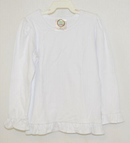 Blanks Boutique Girls White Long Sleeve Ruffle Tee Shirt 4T