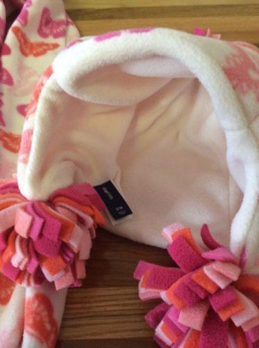 Gap Kids Butterfly Fleece Scarf Hat Set Pom Poms Pink Theme S/M