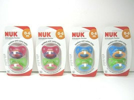 4 PACK NUK Juicy Puller Latex Pacifier 0-6 M Soothes Calms Baby Blue Gre... - $25.73