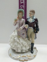Capodimonte San Marco Figurine Man and Lady Walking Crown N Italy - $173.25