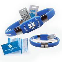Waterproof ELITE PLUS USB medical ID bracelet, 2 GB USB, 10 lines engrav... - $52.95