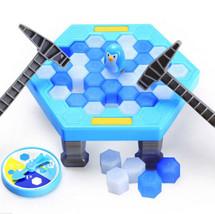 Funny Family Desktop Puzzle Games Kids Penguin Trap Ice Blocks Toys Hammer - $12.34