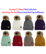 C.C Thick Cable Knit Faux Fuzzy Fur Pom Fleece Lined Skull Cap Cuff CC B... - $14.95+