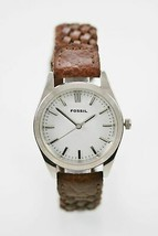 Fossil Watch Mens Silver Stainless Steel Leather Brown Water Resistant White Qua - £26.86 GBP