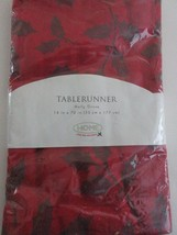 Christmas Decor Table Runner Red with Green Holly 14 in x 70 in New in P... - $19.95